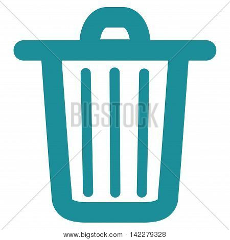 Trash Can glyph icon. Style is linear flat icon symbol, soft blue color, white background.