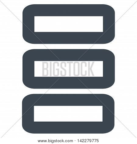 Database glyph icon. Style is stroke flat icon symbol, smooth blue color, white background.