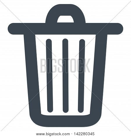 Trash Can glyph icon. Style is outline flat icon symbol, smooth blue color, white background.