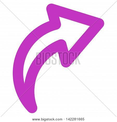 Redo glyph icon. Style is linear flat icon symbol, violet color, white background.