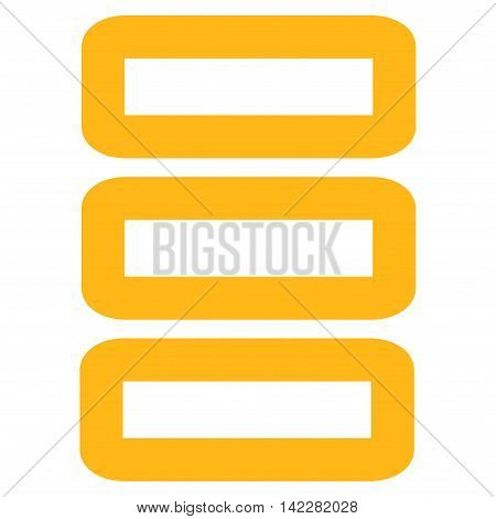 Database glyph icon. Style is stroke flat icon symbol, yellow color, white background.