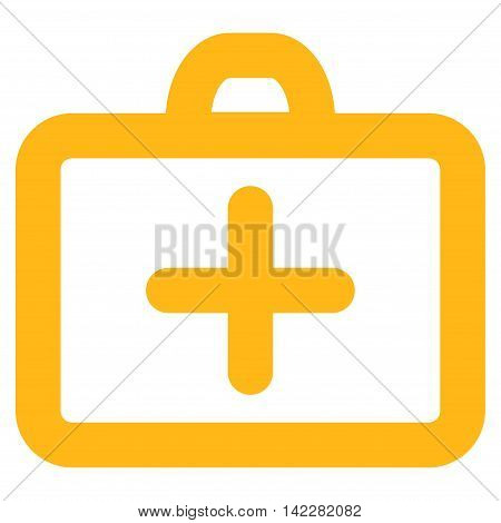 First Aid glyph icon. Style is linear flat icon symbol, yellow color, white background.