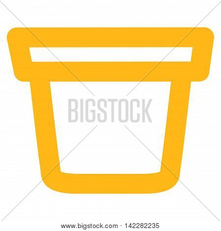 Pail glyph icon. Style is outline flat icon symbol, yellow color, white background.