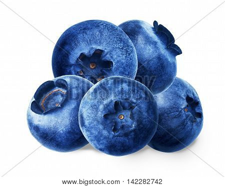 Juicy and fresh blueberries without green leaves on white background. Blue color blueberries close-up. Image of blueberries with high resolution. Whortleberry antioxidant. Useful hurtleberry for vision.
