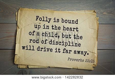 TOP-700 Bible verses from Proverbs. Folly is bound up in the heart of a child, but the rod of discipline will drive it far away.