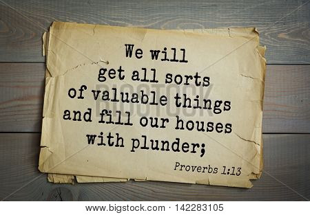 TOP-700 Bible verses from Proverbs. We will get all sorts of valuable things and fill our houses with plunder;