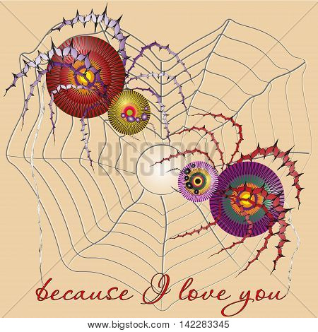 Vector illustration two colorful spider  Drawing because I love you on a light background, two colorful spider sits on the web, image for decoration and design