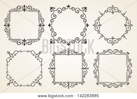 Set of Victorian Vintage Decorations Elements and Frames. Flourishes Calligraphic Ornaments and Frames. Retro Style Frame Collection for Invitations, Posters, Placards, Logos
