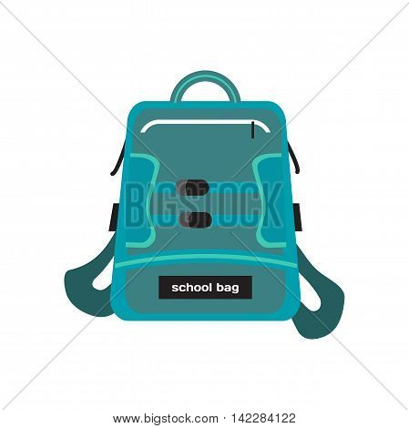 Blue bag school backpack isolated on white background. Flat cartoon modern vector illustration
