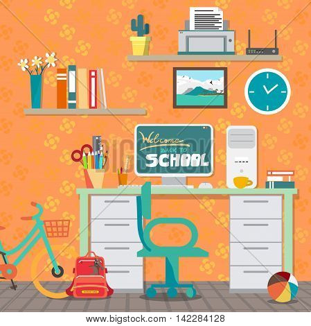 Back to school concept. Girl workspace with desk, computer, bycicle, books, backpack etc. Child room interior. Vector flat cartoon illustration