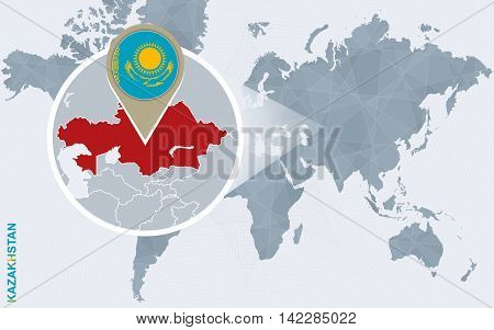 Abstract Blue World Map With Magnified Kazakhstan.