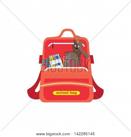 Red bag school backpack isolated for girl on white background. Flat cartoon modern vector illustration