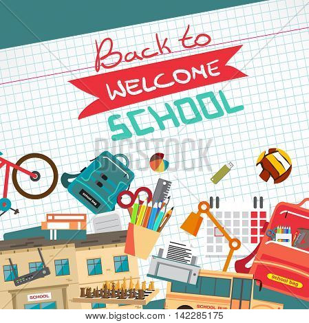 Back to school flat cartoon design modern vector illustration background with education things on checkered paper