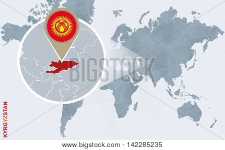 Abstract Blue World Map With Magnified Kyrgyzstan.