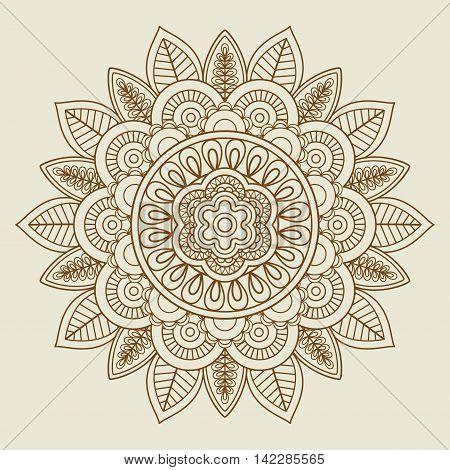 Hand drawn floral rosette in vintage colors. Vector illustration