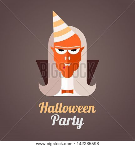 Halloween Party vector poster. Angry vampire with a cone party hat on his head.