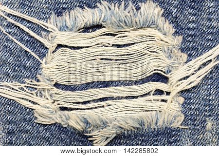 A closeup picture of a part of the jeans that is a bit torn for fashion background