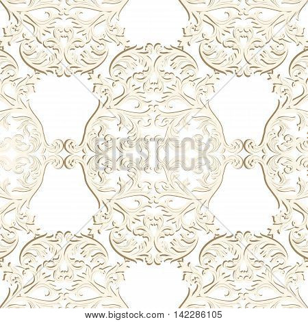 Vintage Baroque Rococo ornament pattern. Vector damask decor. Royal Victorian texture for wallpapers textile fabric
