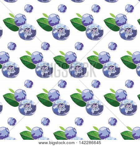 Blueberry or bilberry fruits isolated pattern Vector