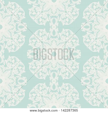 Vintage round Baroque ornament pattern. Vector Luxury damask decor. Royal Victorian texture for textile fabric. opal blue color