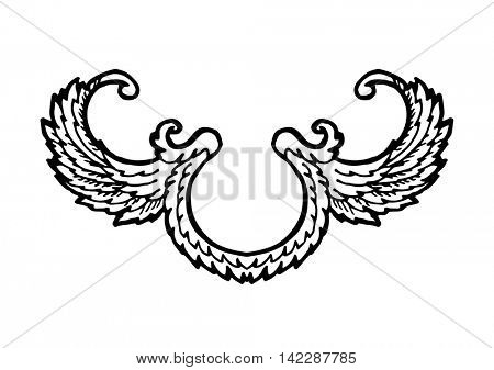 Laurel wreath branches set. Decorative elements at engraving style. Vector Illustration. Isolated on white.