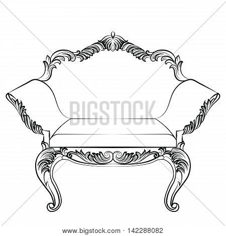 Fabulous Rich Baroque Rococo Armchair. French Luxury rich carved ornaments furniture. Vector Victorian exquisite Style ornamented chair