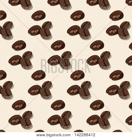 Roasted brown coffee beans pattern Vector illustration