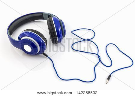 Blue headphones isolated on a white background.
