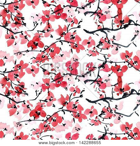 Watercolor and ink illustration in style sumi-e, u-sin. Oriental traditional painting. Seamless pattern.