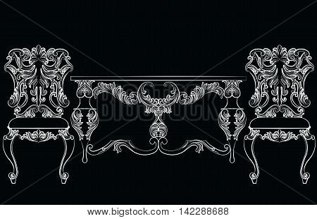 Fabulous Rich Baroque Rococo chair and table set. French Luxury rich carved ornaments furniture. Vector Victorian exquisite Style ornamented wooden furniture