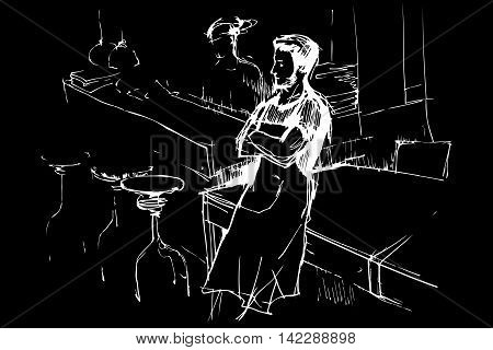 black and white vector sketch of a waiter in an apron in a pub