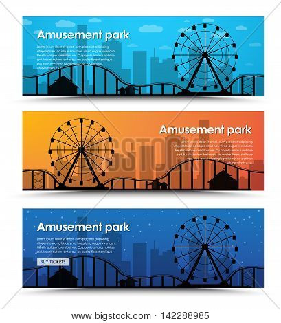 A Set Of Banners For The Amusement Park