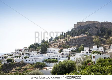 Lindos City on perfect sunny day. Blue sky