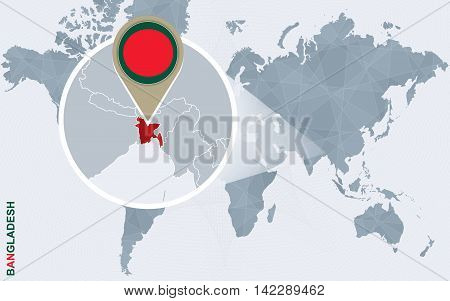 Abstract Blue World Map With Magnified Bangladesh.