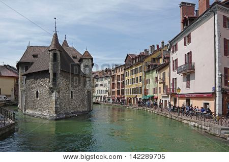 ANNECY FRANCE - 29 APRIL 2015: View of the canal in city centre of Annecy capital of Haute Savoie province in France. Annecy is known to be called the French Venice