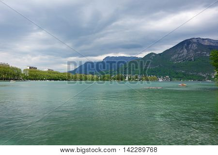 View of the lake of Annecy capital of Haute Savoie province in France. Annecy is known to be called the French Venice