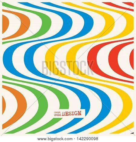 Design color waving lines illusion background. Abstract stripe distortion backdrop. Zebra style decoration. Wallpaper with empty space for your text. Vector illustration