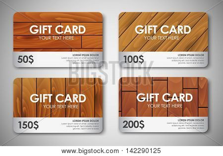 Set of wooden texture  gift cards. Vector illustration