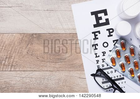 Healthy eyes. Eye chart and medicine. Concept of Eyes care for healthy eyes.