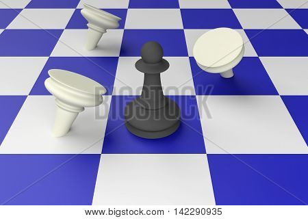 Black Pawn Defeating White Pawns On A Blue Chess Board 3d illustration