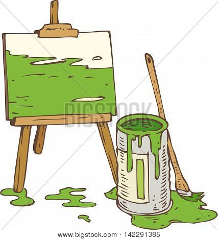 Abstract Picture on the Wooden Easel Tin Can of Green Paint and Paintbrush. Isolated on a White