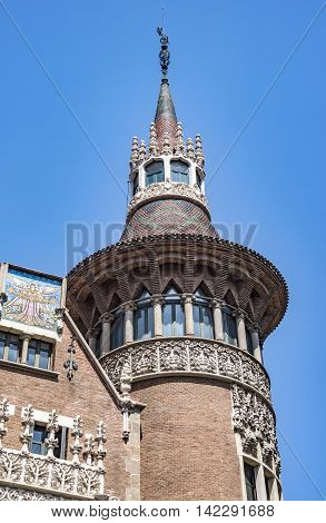 BARCELONA SPAIN - JULY 5 2016: Closeup of Casa de les Punxes (Casa Terrades) on Avinguda Diagonal street. The building in modernism style was built 1902-1905 and designed by Josep Puig i Cadafalch