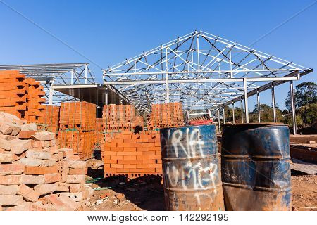 Building construction roof structures and bricks materials.