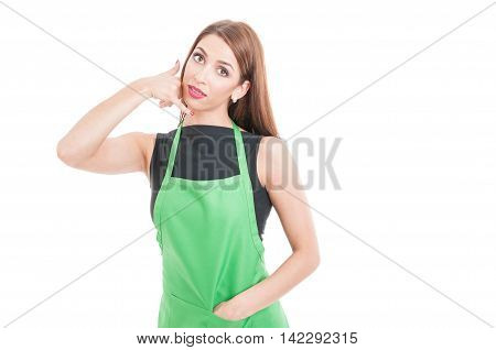 Attractive Female Seller Doing A Call Gesture
