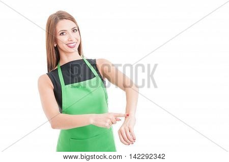 Joyful Pretty Employee Pointing Her Wrist