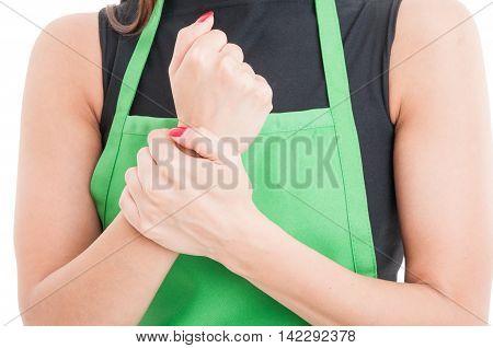 Closeup Of Employee Injured Wrist