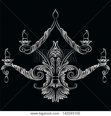 Rich Baroque Classic chandelier. Luxury decor accessory design. Vector illustration sketch
