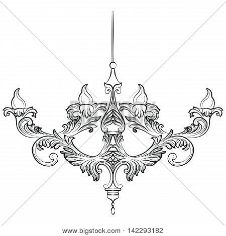 Exquisite Rich Baroque Classic chandelier. Luxury decor accessory design. Vector illustration sketch