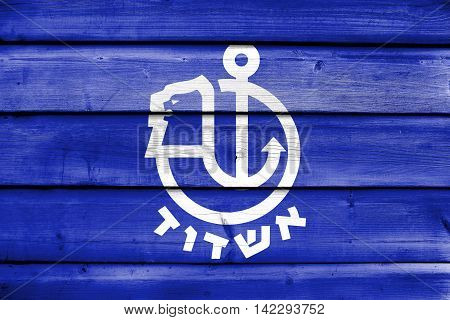 Flag Of Ashdod, Israel, Painted On Old Wood Plank Background