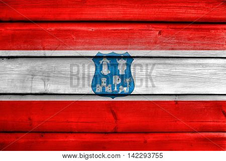 Flag Of Asuncion, Paraguay, Painted On Old Wood Plank Background